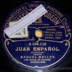 Discos de pizarra: DISCO 78 RPM - ODEON - RAQUEL MELLER - ORQUESTA - JUAN ESPAÑOL - TROPIEZOS - PIZARRA. Lote 16671263