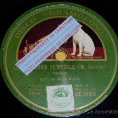 Discos para gramofone: DISCO 78 RPM - LA ARGENTINITA - UNA SEÑORA SENSIBLE - GRAMOFONO - PIZARRA. Lote 16673133