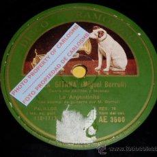 Discos de pizarra: DISCO 78 RPM - LA ARGENTINITA & MIGUEL BORRULL (GUITARRA) - GRAMÓFONO - PIZARRA. Lote 16673224