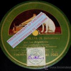 Shellac Records - DISCO 78 RPM - LA ARGENTINITA & SALVADOR BALLESTEROS (GUITARRA) - GRAMÓFONO - PIZARRA - 16673305