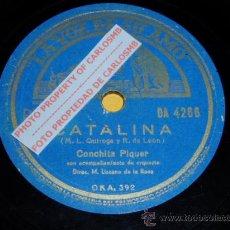 Discos de pizarra: DISCO 78 RPM - CONCHITA PIQUER CON ORQUESTA - CATALINA / PARA EL CARRO - PIZARRA. Lote 16674035