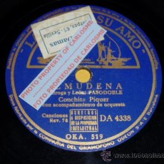 Discos de pizarra: DISCO 78 RPM - CONCHITA PIQUER CON ORQUESTA - ALMUDENA / DIME QUE ME QUIERES - PIZARRA. Lote 16674214