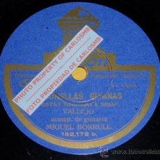 Discos de pizarra: DISCO 78 RPM - MANUEL VALLEJO & MIGUEL BORRULL (GUITARRA) - FLAMENCO - PIZARRA. Lote 16674552