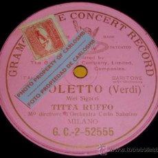 Discos de pizarra: DISCO 78 RPM - MONOFACIAL GRAMOPHONE - TITTA RUFFO - BARITONO - ORQUESTA - RIGOLETTO - PIZARRA. Lote 16688709