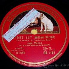 Discos de pizarra: DISCO 78 RPM - GRAMOFONO - JOSE MOJICA - TENOR - LIBRE SOY - UN BESO LOCO - OPERA - PIZARRA. Lote 16688755