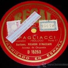 Discos de pizarra: DISCO 78 RPM - BARÍTONO RICARDO STRACCIARI - REGAL - I PAGLIACCI - PIZARRA. Lote 16689129