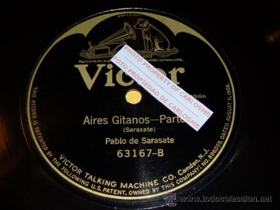 DISCO 78 RPM - PABLO DE SARASATE - VIOLÍN - AIRES GITANOS - PIZARRA (Música - Discos - Pizarra - Clásica, Ópera, Zarzuela y Marchas)