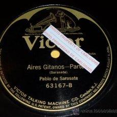 Discos de pizarra: DISCO 78 RPM - PABLO DE SARASATE - VIOLÍN - AIRES GITANOS - PIZARRA. Lote 16689222