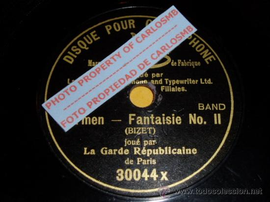DISCO 78 RPM - GARDE RÉPUBLICAINE - G&T - MONOFACIAL 18 CM GRAMOPHONE - CARMEN - PARIS - PIZARRA (Música - Discos - Pizarra - Otros estilos)