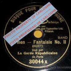 Discos de pizarra: DISCO 78 RPM - GARDE RÉPUBLICAINE - G&T - MONOFACIAL 18 CM GRAMOPHONE - CARMEN - PARIS - PIZARRA. Lote 16689479