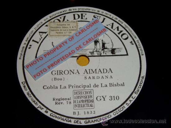 DISCO 78 RPM - COBLA LA PRINCIPAL DE LA BISBAL - SARDANA - BOU - MANEN - PIZARRA (Música - Discos - Pizarra - Otros estilos)