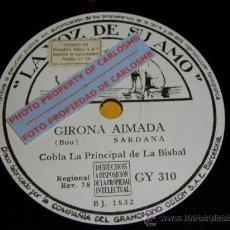 Discos de pizarra: DISCO 78 RPM - COBLA LA PRINCIPAL DE LA BISBAL - SARDANA - BOU - MANEN - PIZARRA. Lote 16689825