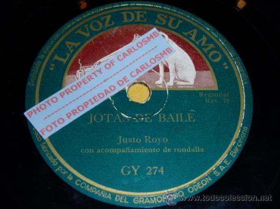 DISCO 78 RPM - JUSTO ROYO CON RONDALLA CANDELA - JOTAS ARAGONESAS - PIZARRA (Música - Discos - Pizarra - Otros estilos)