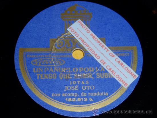 DISCO 78 RPM - JOSÉ OTO CON RONDALLA - ODEON - JOTAS ARAGONESAS - PIZARRA (Música - Discos - Pizarra - Otros estilos)