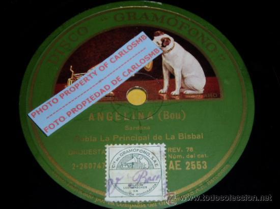 DISCO 78 RPM - COBLA LA PRINCIPAL DE LA BISBAL - GRAMÓFONO - SARDANAS - PIZARRA (Música - Discos - Pizarra - Otros estilos)