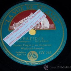 Discos de pizarra: DISCO 78 RPM - XAVIER CUGAT Y SU ORQUESTA DEL WALDORF-ASTORIA - PERFIDIA / FRENESÍ - PIZARRA. Lote 16720486