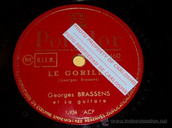 DISCO 78 RPM - GEORGES BRASSENS - LE GORILLE / LA CHASSE AUX PAPILLONS - POLYDOR - PIZARRA (Música - Discos - Pizarra - Solistas Melódicos y Bailables)