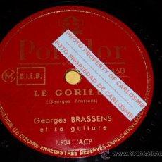 Discos de pizarra: DISCO 78 RPM - GEORGES BRASSENS - LE GORILLE / LA CHASSE AUX PAPILLONS - POLYDOR - PIZARRA. Lote 16720911