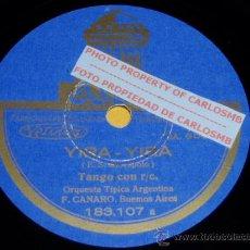 Discos de pizarra: DISCO 78 RPM - ORQUESTA TÍPICA ARGENTINA FRANCISCO CANARO - TANGOS - ODEON - PIZARRA. Lote 16721683