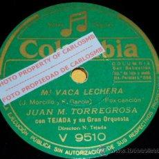 Discos de pizarra: DISCO 78 RPM - JUAN M. TORREGROSA CON TEJADA - MI VACA LECHERA / SERÁ MEJOR - PIZARRA. Lote 16722585