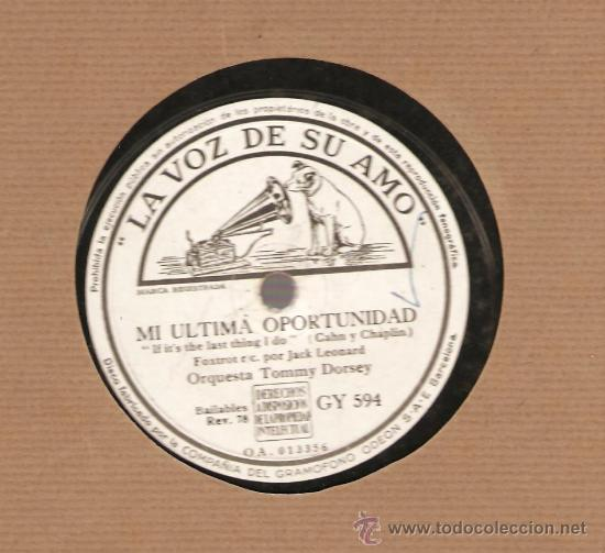 ORQUESTA TOMMY DORSEY : UNA SOLA VEZ + MI ULTIMA OPORTUNIDAD (Música - Discos - Pizarra - Jazz, Blues, R&B, Soul y Gospel)