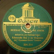 Discos de pizarra: EDMUNDO ROS. SAMBA LELE + BUENAS NOCHES MI AMOR.. Lote 17758523