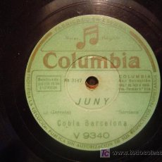 Discos de pizarra: DISCO GRAMOFONO COLUMBIA - JUNY - COBLA BARCELONA. Lote 27624478