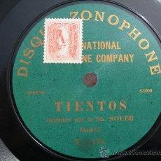 Discos de pizarra: DISCO PIZARRA STA. SOLER // TIENTOS (SOLO UNA CARA). Lote 25266237