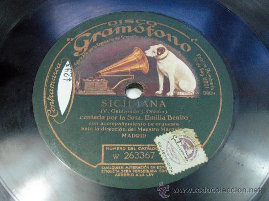 EL CAMPANERO / SICILIANA. EMILIA BENITO MURCIA GRAMOFONO (Música - Discos - Pizarra - Flamenco, Canción española y Cuplé)