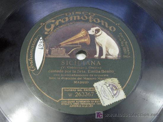 Discos de pizarra: EL CAMPANERO / SICILIANA. EMILIA BENITO MURCIA GRAMOFONO - Foto 2 - 24796366