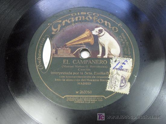 Discos de pizarra: EL CAMPANERO / SICILIANA. EMILIA BENITO MURCIA GRAMOFONO - Foto 3 - 24796366