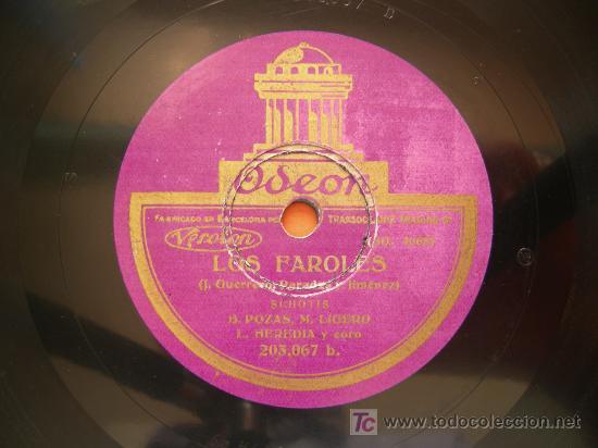 DISCO PIZARRA LOS FAROLES, B. POZAS Y M. LIGERO, SCHOTTISH Y HIMNO, ODEON (Música - Discos - Pizarra - Flamenco, Canción española y Cuplé)