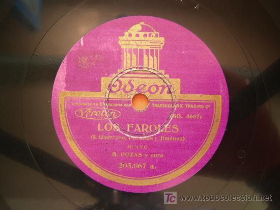 Discos de pizarra: disco pizarra LOS FAROLES, B. POZAS Y M. LIGERO, SCHOTTISH Y HIMNO, ODEON - Foto 2 - 26878046