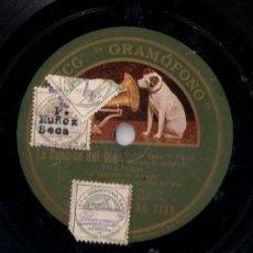 Discos de pizarra: TINO FOLGAR - VALS DE LA PELÍCULA LA CANCIÓN DEL DÍA - PIZARRA DISCO GRAMÓFONO - AE 3106 - 1930. Lote 26851600