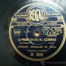 Discos de pizarra: LA PRINCESA DE LAS ZARDAS VALS, Y ROSA DEL RIO .PASODOBLE. Lote 25941765