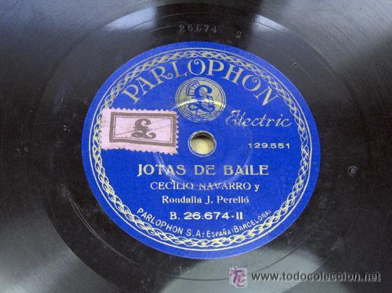 PARLOPHON. JOTAS DE BAILE / FEMATERA LA DE LOS MALACATONES. CONSUELO Y CECILIO NAVARRO. JOTA. ARAGON (Música - Discos - Pizarra - Otros estilos)