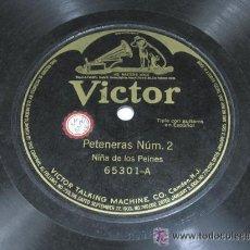Discos de pizarra: VICTOR. PETENERAS NÚM. 2 QUISIERA YO RENEGAR / SOLEARES NÚM. 3. NIÑA DE LOS PEINES. FLAMENCO. Lote 23282984
