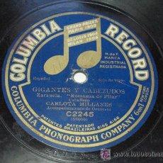 Discos de pizarra: LA TRAPERA – GIGANTES Y CABEZUDOS. CARLOTA MILLANES. COLUMBIA RECORDS. Lote 23283187