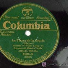 Discos de pizarra: COLUMBIA. LA TIERRA DE LA GRACIA (BULERIAS) / SUSPIRO GITANO (TIENTOS) AMALIA MOLINA FLAMENCO.. Lote 23283327
