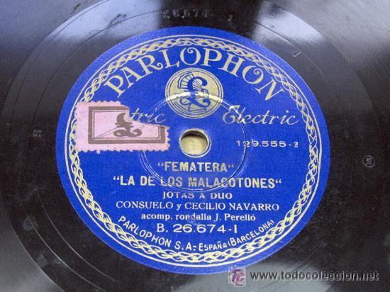 Discos de pizarra: PARLOPHON. JOTAS DE BAILE / FEMATERA LA DE LOS MALACATONES. CONSUELO Y CECILIO NAVARRO. JOTA. ARAGON - Foto 2 - 23282200