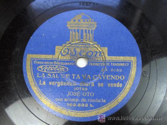 Discos de pizarra: LAS FLORES DE ZARAGOZA LA QUE MAS ALTARES TIENE / LA SAL SE TE VA CAYENDO JOSE OTO CON RONDALLA JOTA - Foto 2 - 23282048