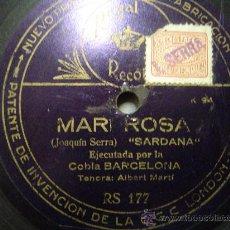 Discos de pizarra: DISCO GRAMOFONO - MARI ROSA - SARDANA - COBLA BARCELONA. Lote 27505121