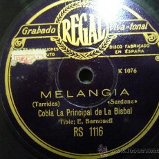 Discos de pizarra: DISCO GRAMOFONO - MELANGIA - SARDANA - COBLA PRINCIPAL DE LA BISBAL. Lote 27484159