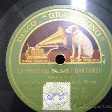Discos de pizarra: DISCO GRAMOFONO - LA PROCESSO DE SANT BERTOMEU - (SARDANA) - COBLA LA PRINCIPAL DE LA BISBAL. Lote 26475336