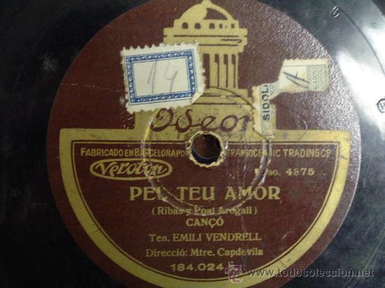 DISCO GRAMOFONO - PEL TEU AMOR (CANÇO) - EMILI VENDRELL (Música - Discos - Pizarra - Otros estilos)