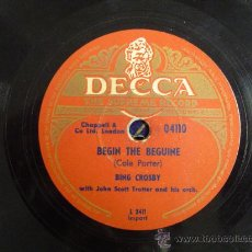Discos de pizarra: DISCO GRAMOFONO - BEGIN THE BEGUINE - BING CROSBY. Lote 26684091