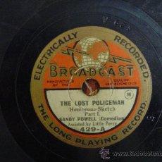 Discos de pizarra: DISCO GRAMOFONO - THE LOST POLICEMAN (HUMOREUS SKETCH) - SANDY POWELL (COMEDIAN) PART. I. Lote 26684094