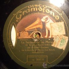 Discos de pizarra: DISCO GRAMOFONO - LA SARDANA DE LES MONGES - ORFEO GRACIENC - DIRECCION DEL MAESTRO JUAN BALCELLS. Lote 27276677
