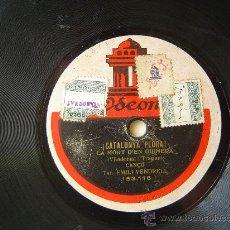 Discos de pizarra: DISCO GRAMOFONO - ¡CATALUNYA PLORA! - LA MORT D'EN GUIMERA - CANÇO, TEN. EMILI VENDRELL. Lote 26288639