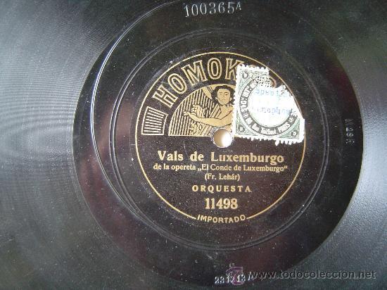 DISCO GRAMOFONO - VALS DE LUXEMBURGO - DE LA OPERETA (Música - Discos - Pizarra - Otros estilos)